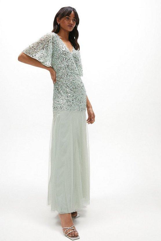 Sequin Angel Sleeve Maxi Dress