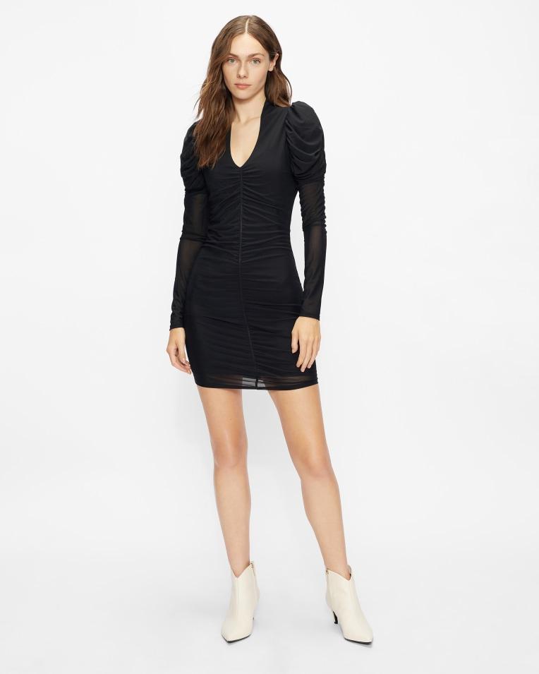 DUNLIN Ruched mesh bodycon mini dress £135