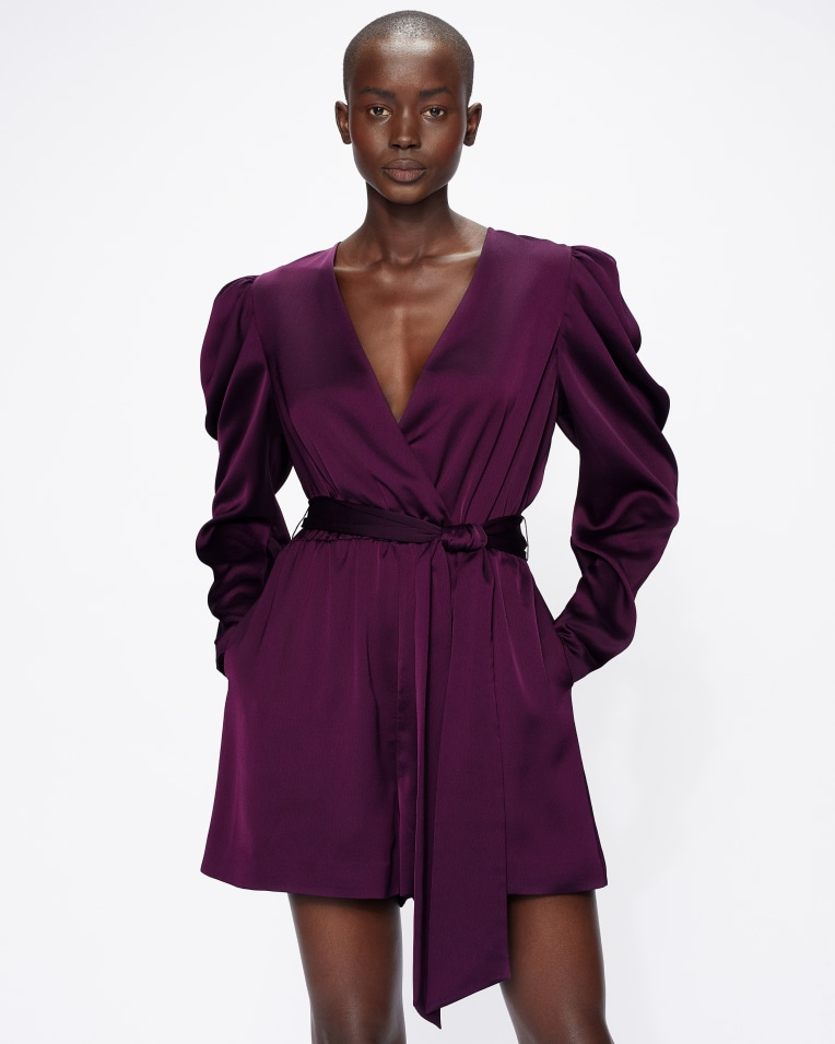 LIANNII Wrap Front Playsuit with Exaggerated Sleeve £175