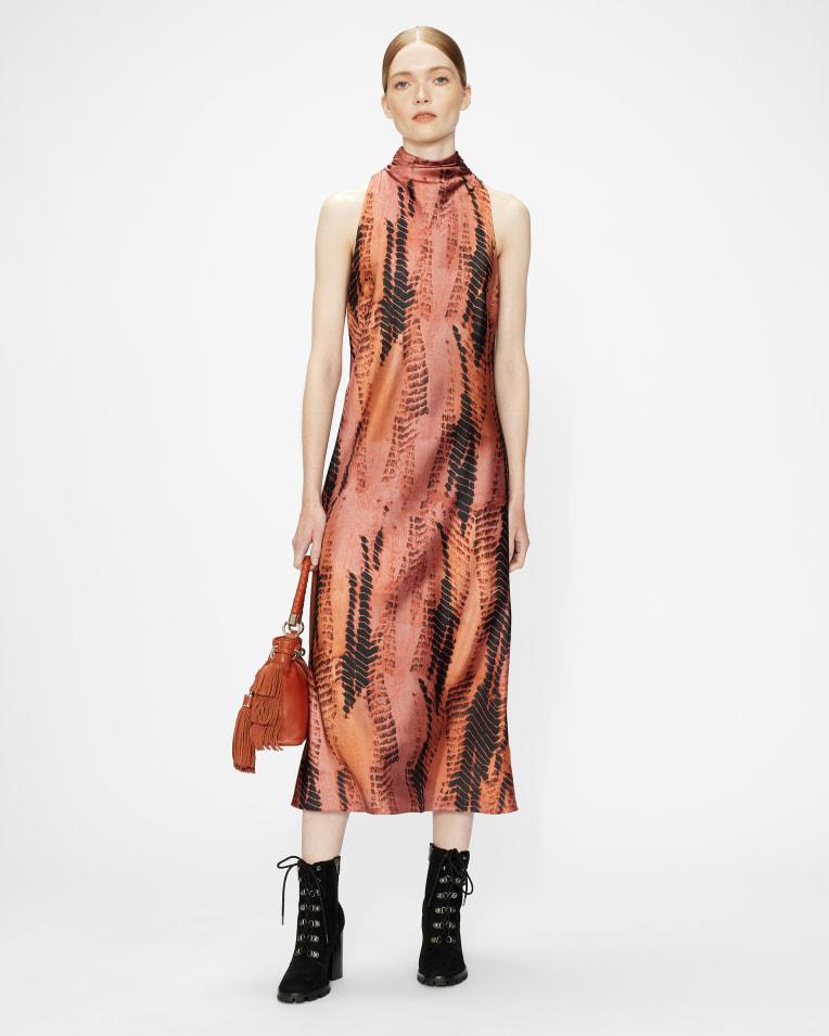 MIRAEYA High neck printed sleeveless midi dress £195