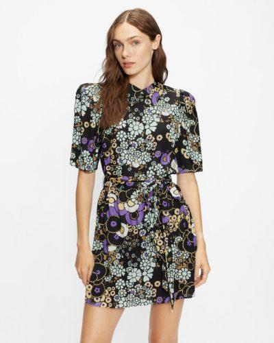 SASKIIE Puff shoulder floral mini dress £165