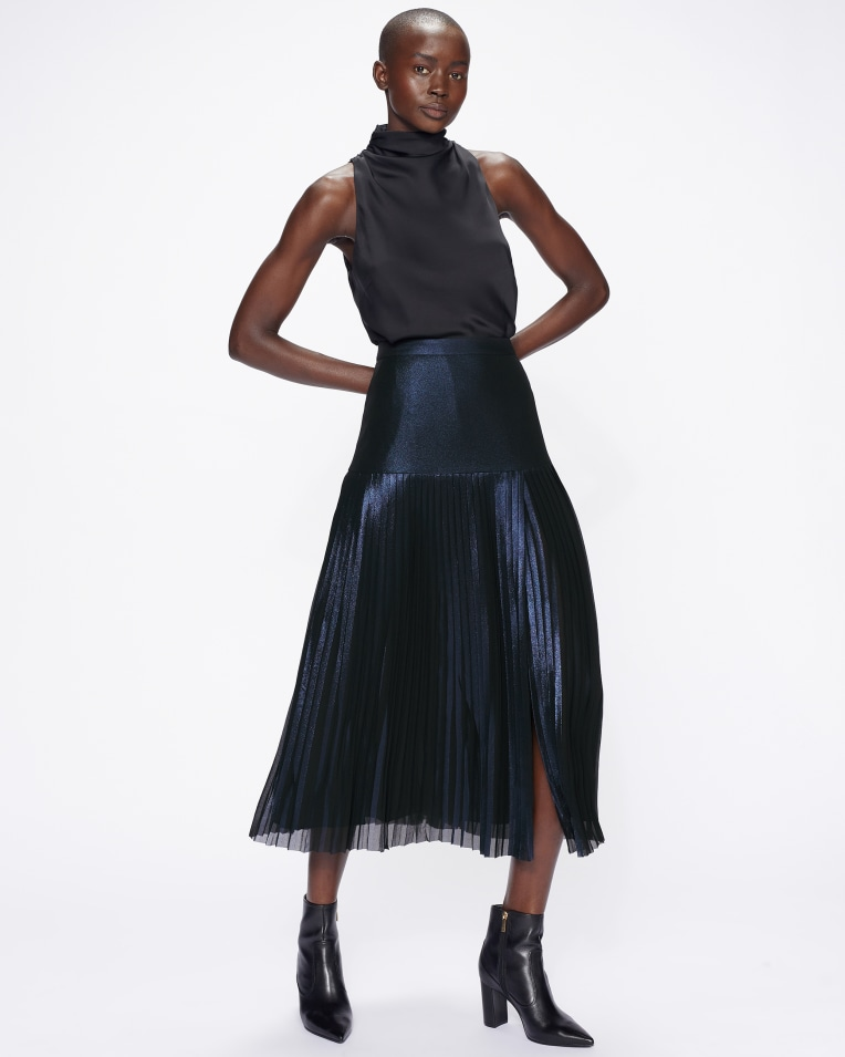 VIND Metallic Knife Pleat Midi Skirt With Split £150