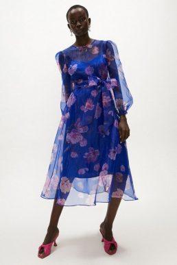 Coast Floral Long Sleeve Organza Midi Dress Cobalt Blue Blush