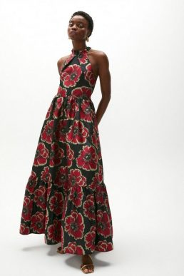 Coast Jacquard Halter Neck Maxi Dress Black Red Gold