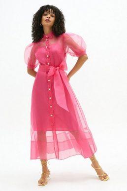 Coast Organza Puff Sleeve Shirt Dress Pink