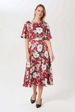 Hobbs Bella Floral Print Satin Midi Dress Red Ivory Multi