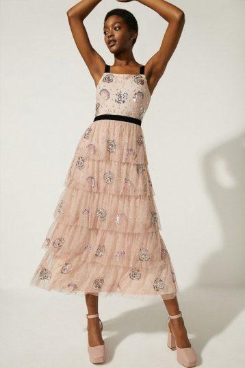 Oasis Oasis Velvet Trim Embellished Tiered Maxi Dress Nude Blush