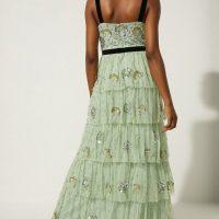 Oasis Oasis Velvet Trim Embellished Tiered Maxi Dress Sage Green