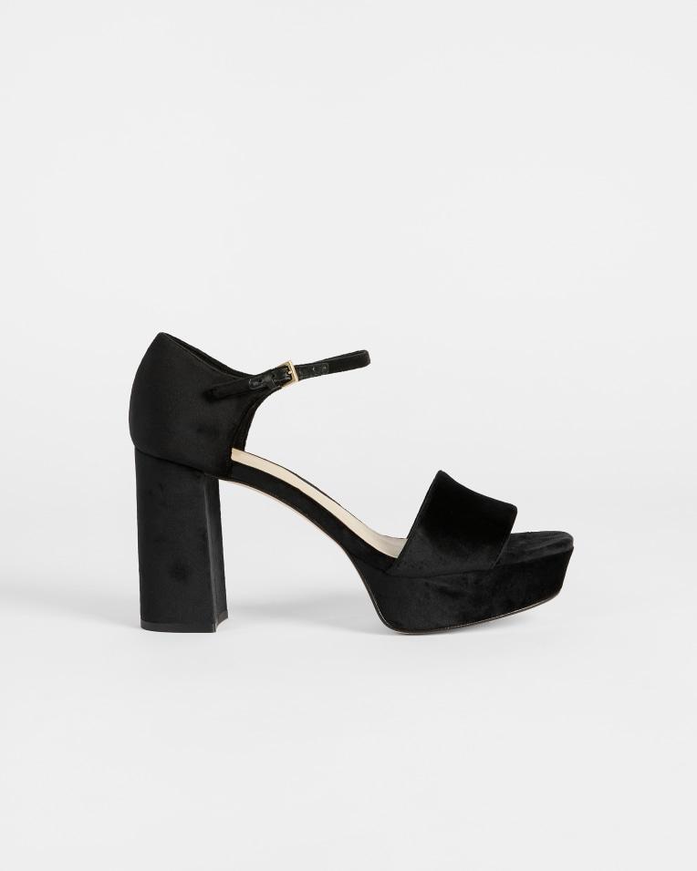 AURITAA Velvet Heeled Platform Sandal £135