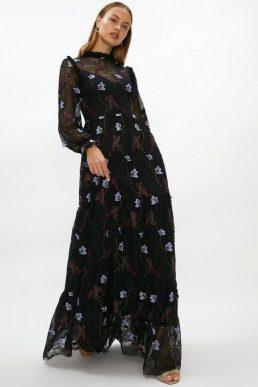 Coast Embroidered Lace Midaxi Dress Black Multi