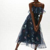 Coast Floral Ruffle Bodice Organza Midi Dress Navy Multi