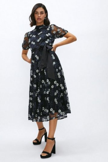Coast High Neck Embroidered Mesh Dress Black White