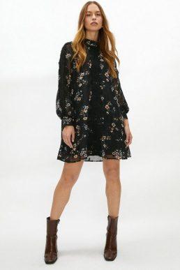 Coast Lace Detail Printed Smock Dress Black Multi