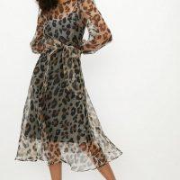 Coast Leopard Long Sleeve Organza Midi Dress Leopard Beige