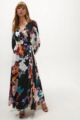 Coast Printed Maxi Sleeve Wrap Dress Black Multi
