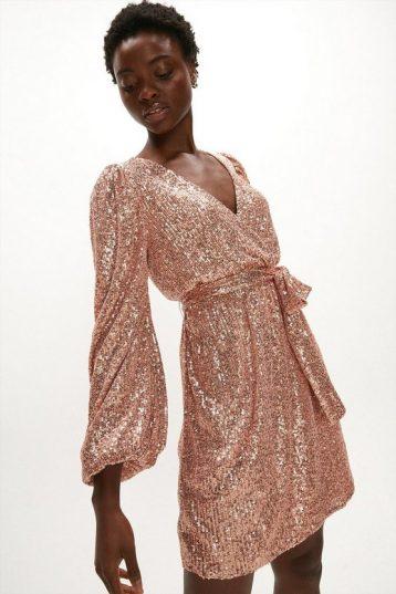 Coast Sequin Low V Neck Dress Rose Gold Blush