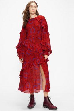 Ted Baker ENRQETA Frilled Printed Dress Red Blue