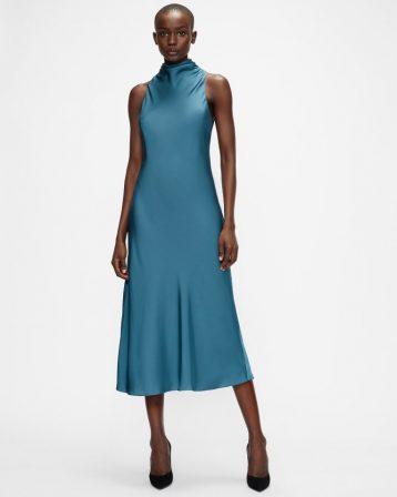 Ted Baker JOIYA Cowl Neck Sleeveless Midi Dress Mid Blue